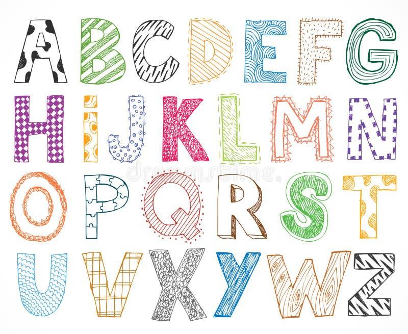 儿童孩子信件手拉的动画片字母表 库存例证