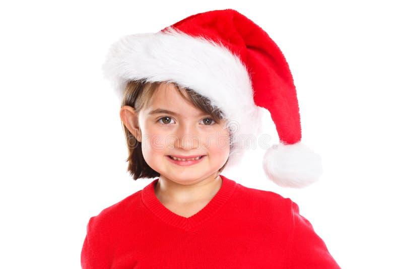 儿童孩子女孩圣诞节在白色背景隔绝的画象圣诞老人项目 免版税库存图片
