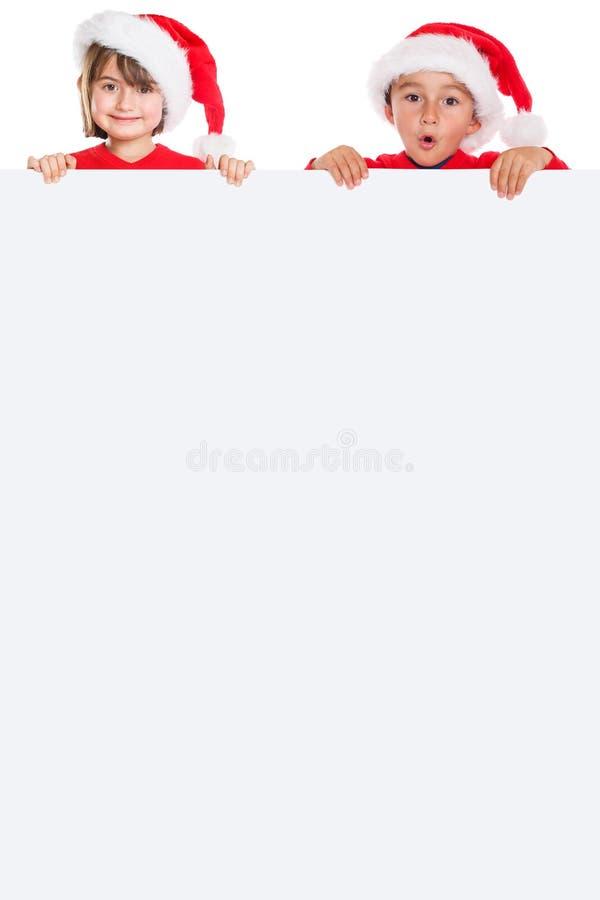 儿童孩子女孩男孩圣诞节圣诞老人项目空的横幅portra 库存图片