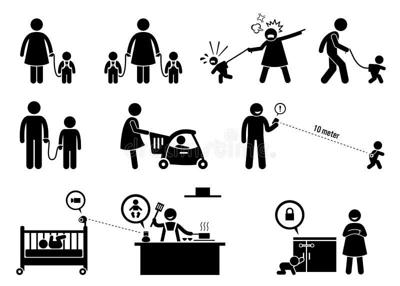 儿童安全和显示器设备 库存例证