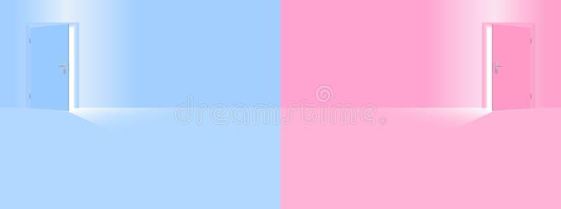 儿童居室托儿所男孩蓝色女孩桃红色 库存例证