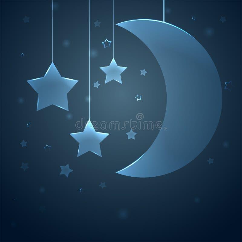 儿童居室的背景 与星的月亮在深蓝天空 向量例证