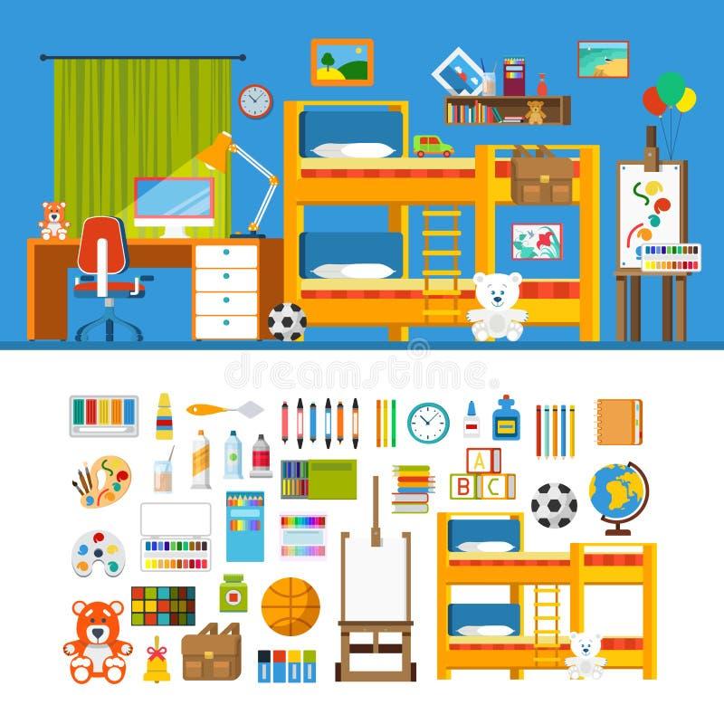 儿童居室建设者大模型模板传染媒介象集合 库存例证