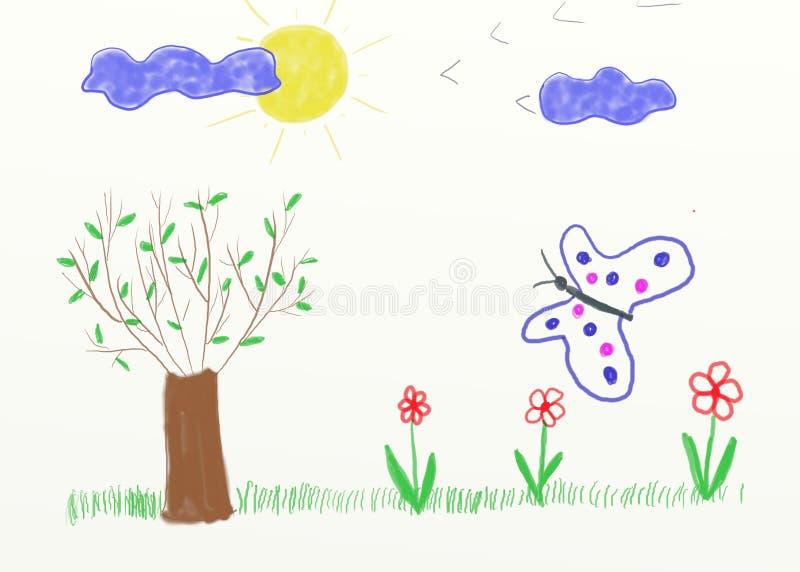 儿童山水画 图库摄影