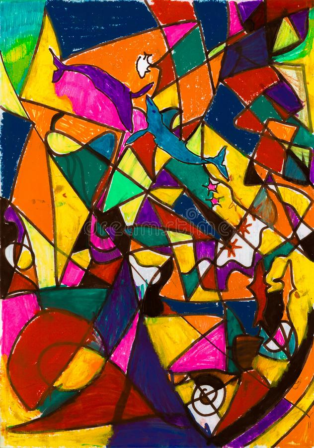 儿童彩色玻璃的` s例证与海豚和鲸鱼内部艺术的 免版税图库摄影