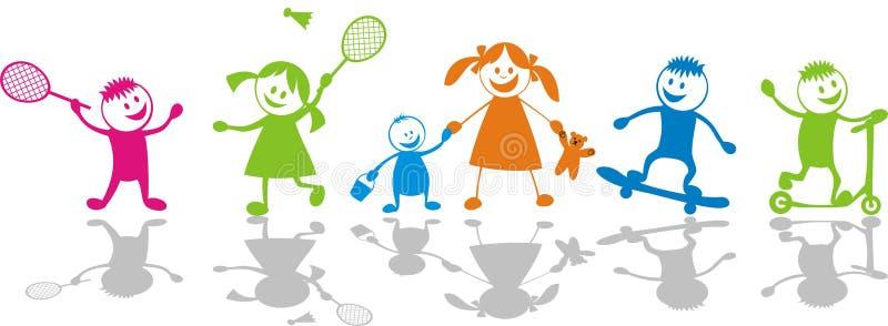 儿童愉快的使用的体育运动 向量例证
