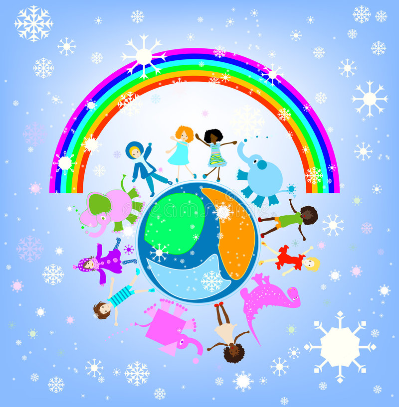 儿童愉快的冬天世界 向量例证