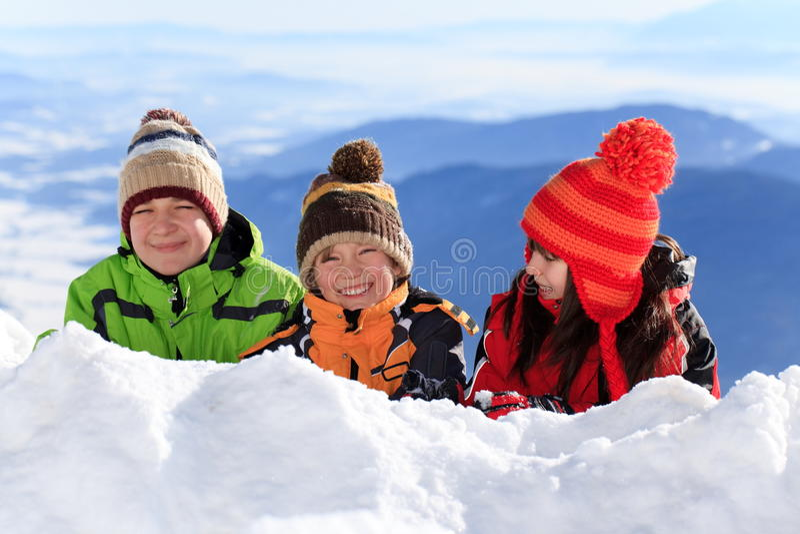 儿童愉快的雪 图库摄影