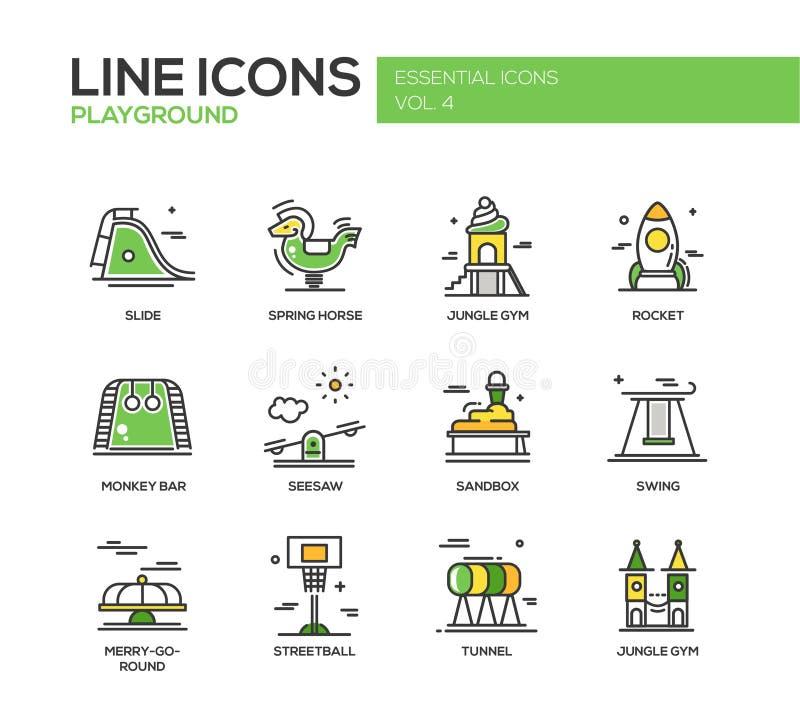 儿童操场线被设置的设计象 向量例证