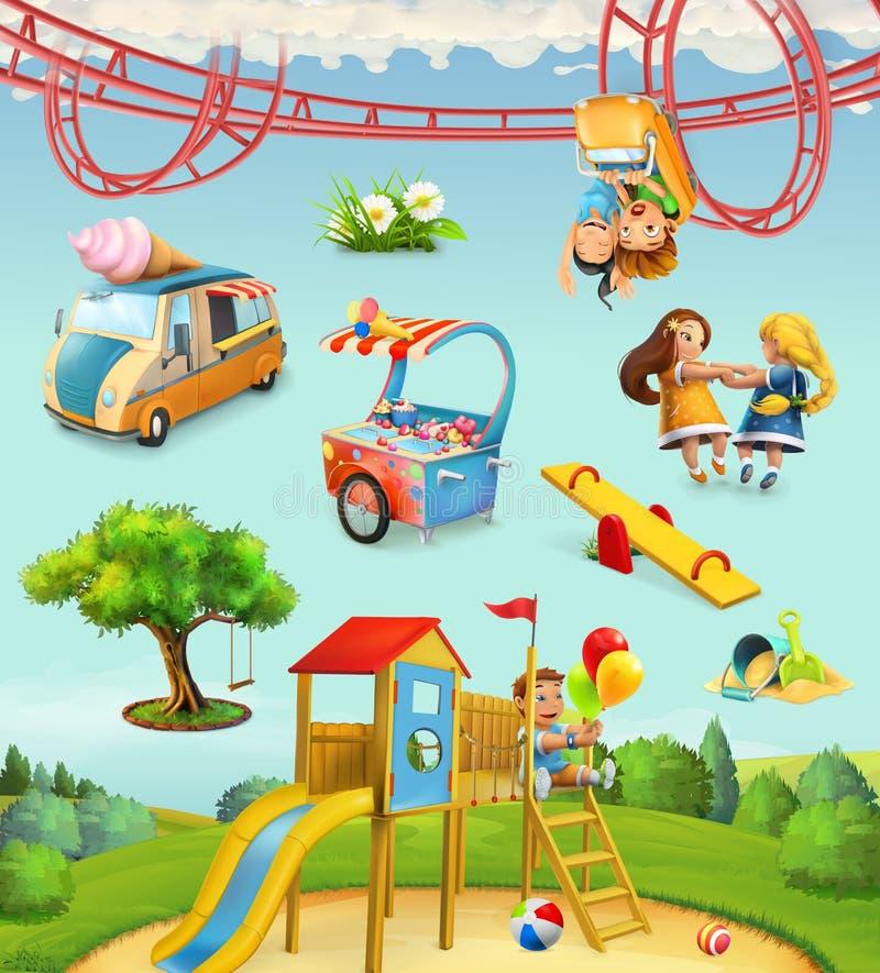 儿童操场,室外游戏在公园 向量例证