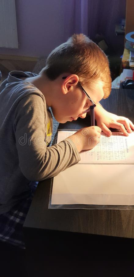 儿童文字家工作 图库摄影