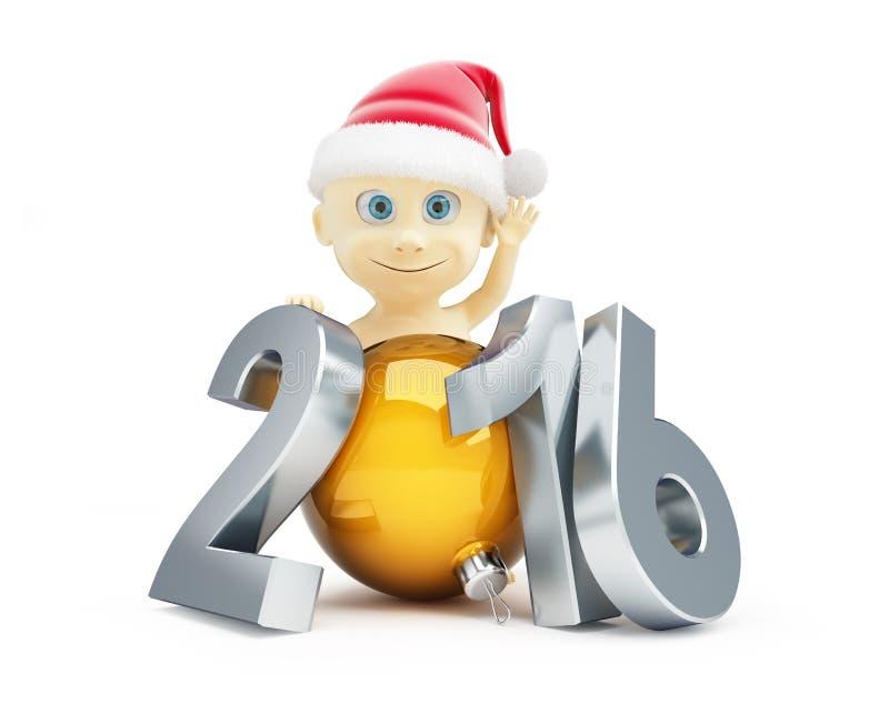 儿童新年好2016年 皇族释放例证