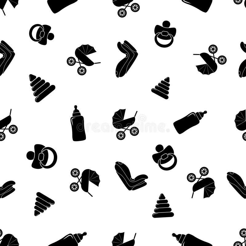 儿童无缝的黑白样式 库存例证