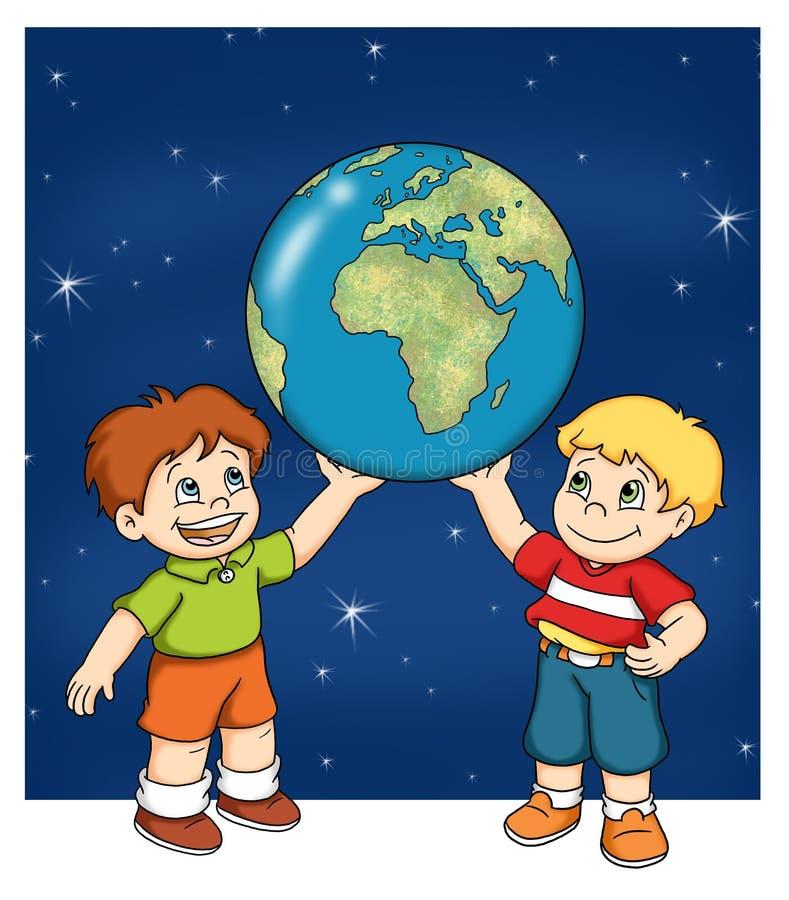 儿童映射世界 向量例证