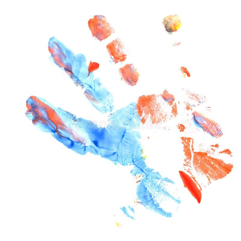 蓝色和儿童` s红色版本记录递树胶水彩画颜料 手指油漆 儿童` s创造性图片