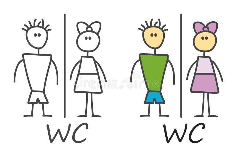 儿童样式滑稽的乱画动画片男性,在黑白和颜色样式的女性标志 WC? 传染媒介洗手间和休息室象 向量例证