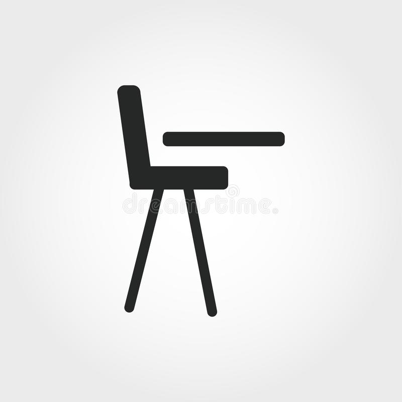 儿童椅子象 从婴孩事象汇集的单色样式设计 Ui 映象点完善的简单的图表儿童椅子象 W 向量例证