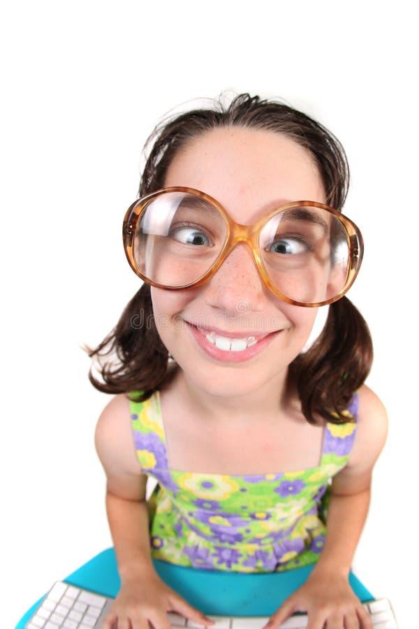 儿童横穿注视滑稽她 免版税库存图片