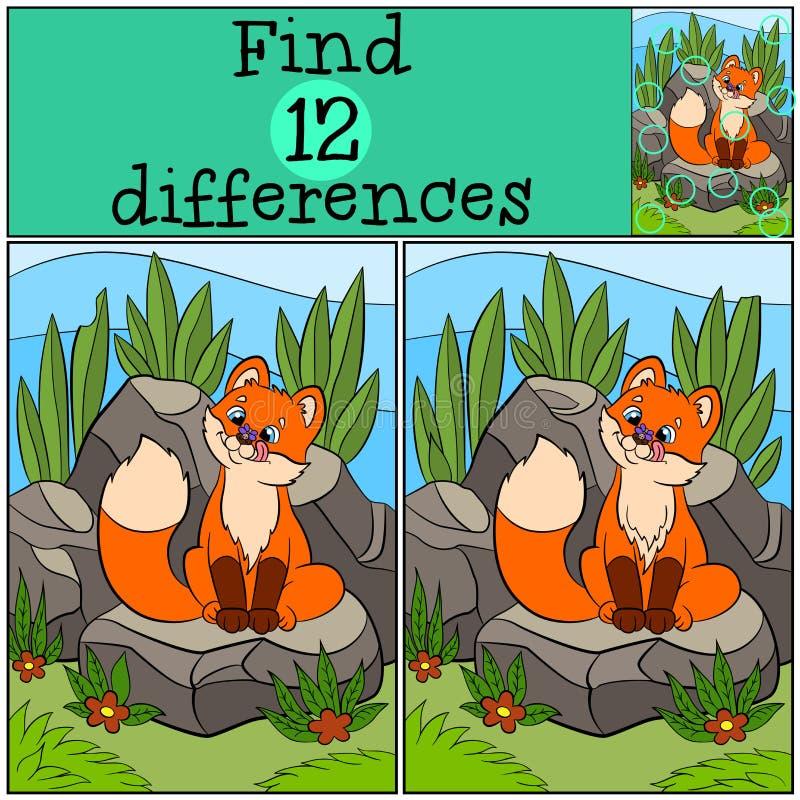 儿童比赛:发现区别 小的逗人喜爱的小狐狸看飞行 库存例证