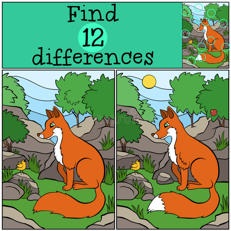 儿童比赛:发现区别 小的逗人喜爱的狐狸 向量例证