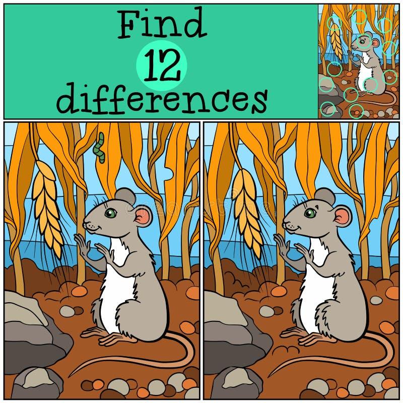 儿童比赛:发现区别 小的逗人喜爱的老鼠 向量例证