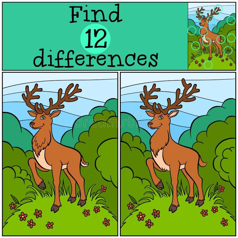 儿童比赛:发现区别 小的逗人喜爱的鹿 库存例证