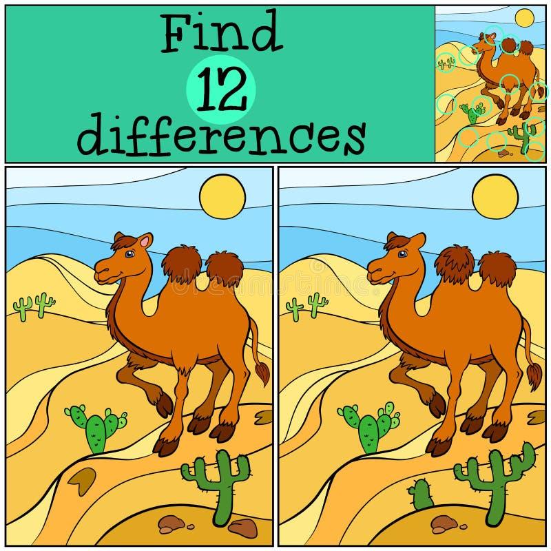 儿童比赛:发现区别 逗人喜爱的骆驼 皇族释放例证