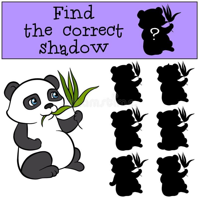 儿童比赛:发现正确阴影 小的逗人喜爱的熊猫 向量例证