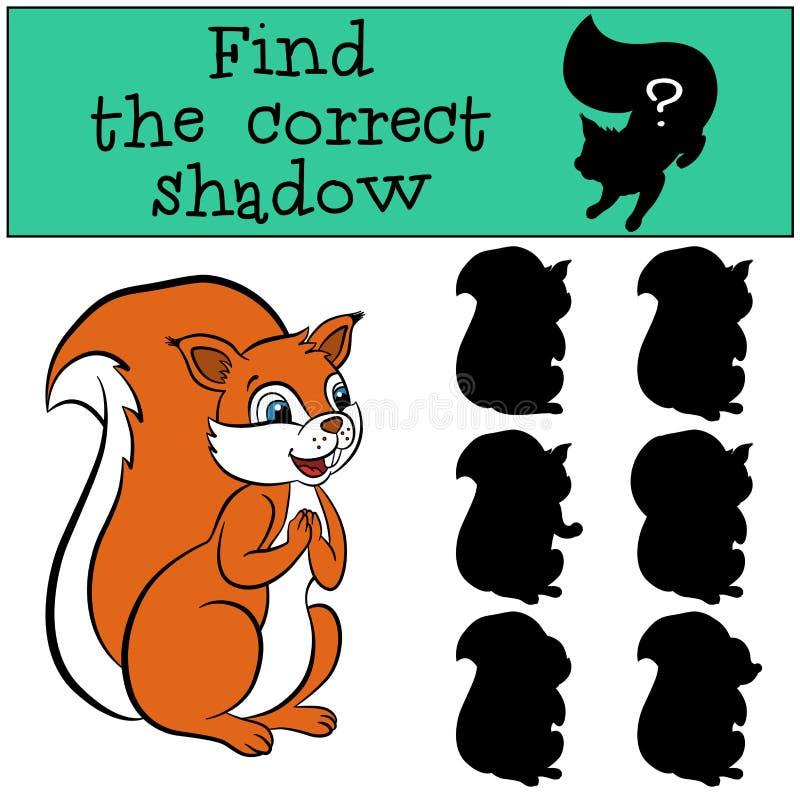 儿童比赛:发现正确阴影 逗人喜爱的一点squirre 皇族释放例证