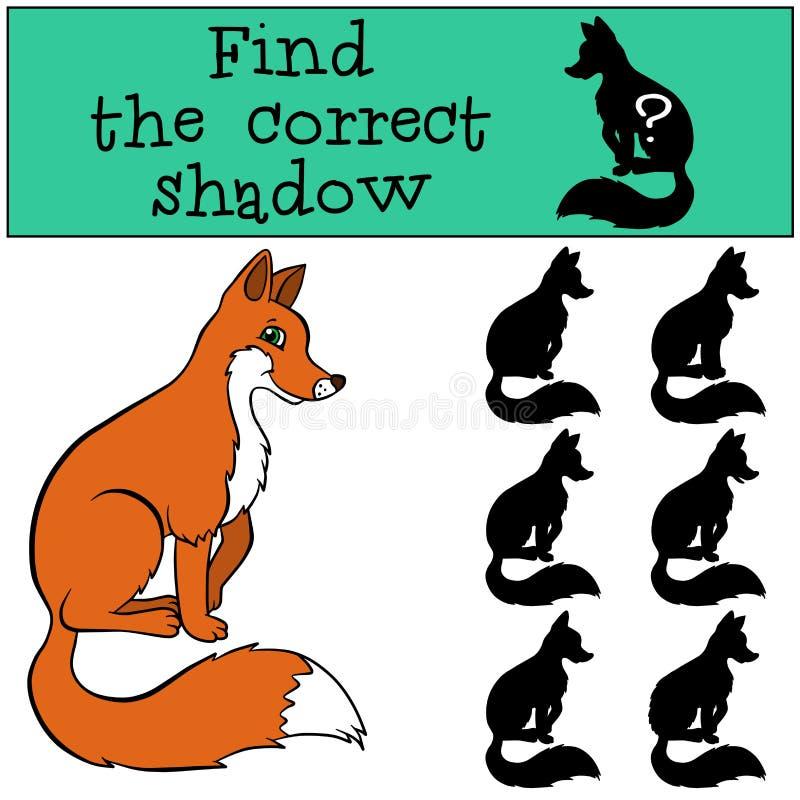 儿童比赛:发现正确阴影 逗人喜爱的狐狸 向量例证