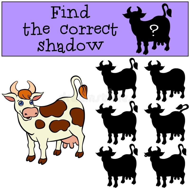 儿童比赛:发现正确阴影 逗人喜爱的被察觉的母牛 库存例证