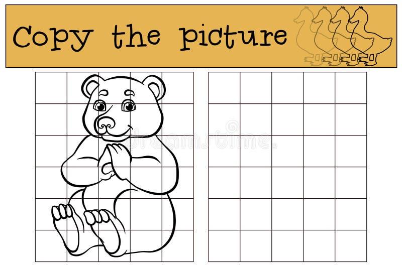 儿童比赛:复制图片 一点逗人喜爱的熊 皇族释放例证