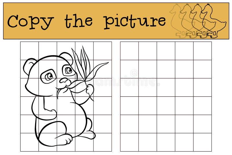 儿童比赛:复制图片 小的逗人喜爱的熊猫 库存例证