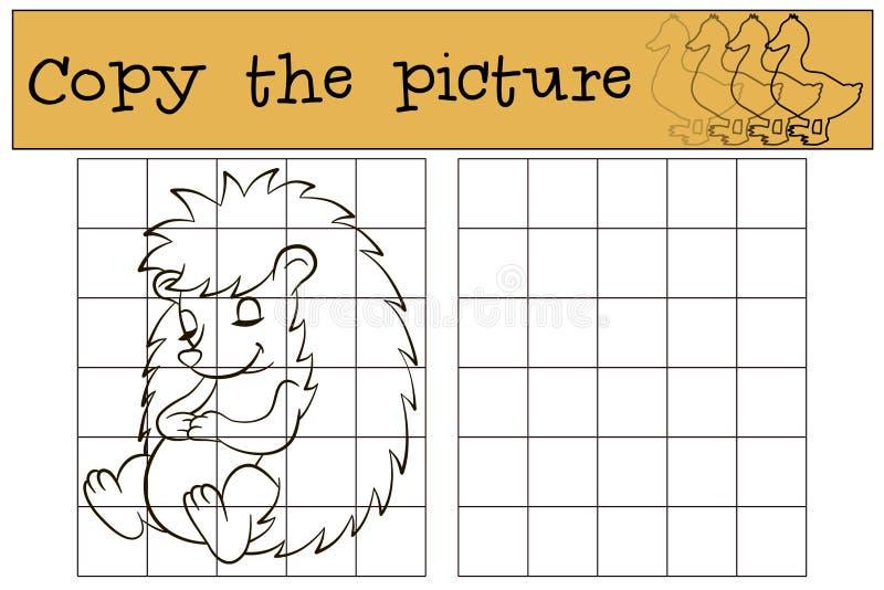儿童比赛:复制图片 小的逗人喜爱的猬 向量例证