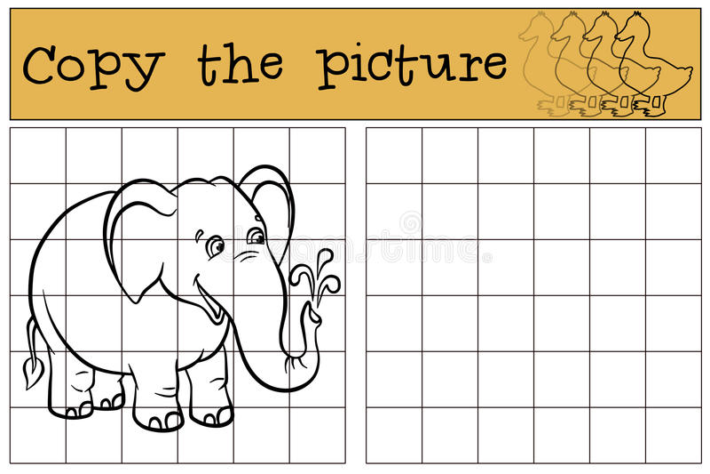儿童比赛:复制图片 逗人喜爱的大象一点 向量例证