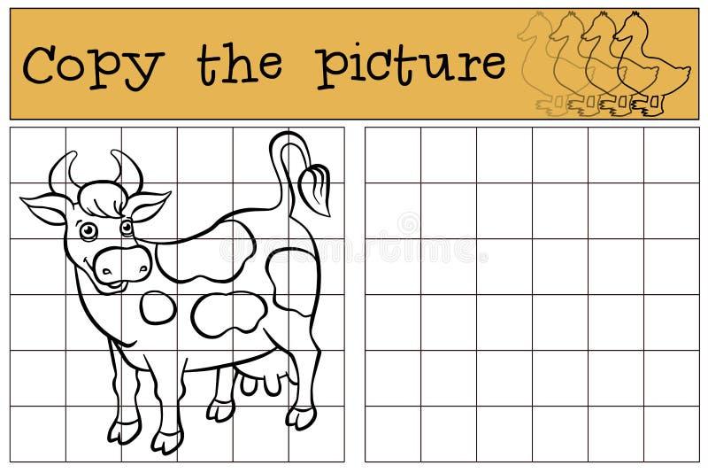 儿童比赛:复制图片 逗人喜爱的被察觉的母牛 皇族释放例证