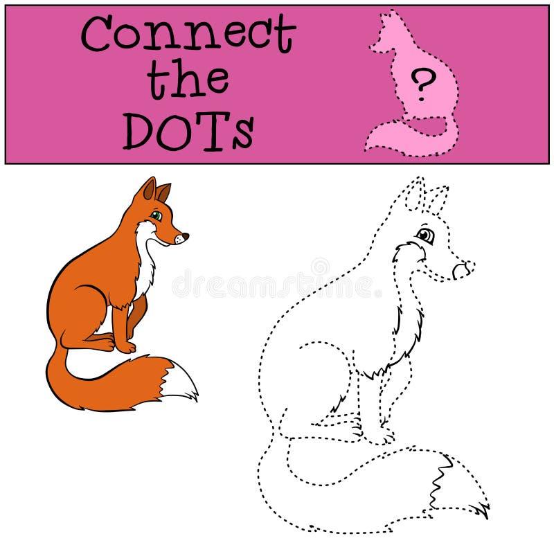 儿童比赛:连接小点 小的逗人喜爱的狐狸 库存例证