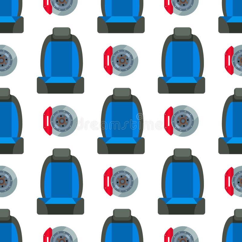 儿童汽车座椅无缝的样式背景保护安全车自动传送带运输传染媒介例证 库存例证
