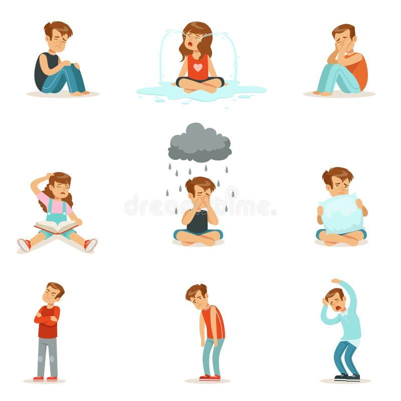 儿童消极情感,不同的心情表示  向量例证