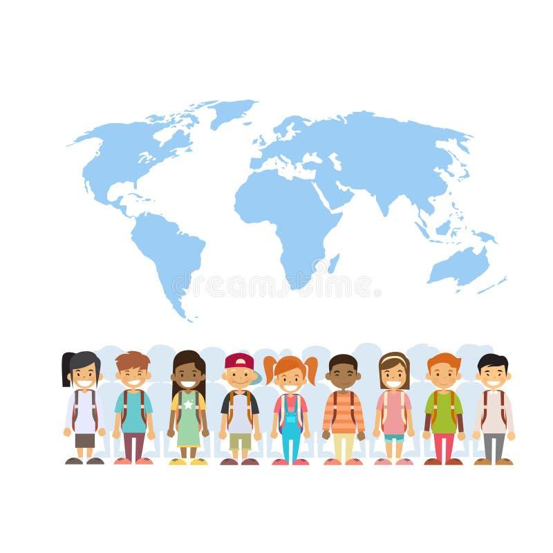 儿童混合在世界地图国际性组织概念的种族团体 皇族释放例证