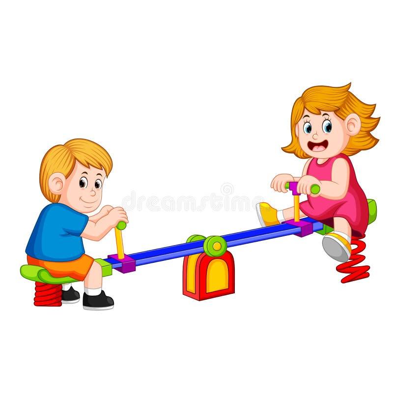 儿童游戏跷跷板高兴地 皇族释放例证