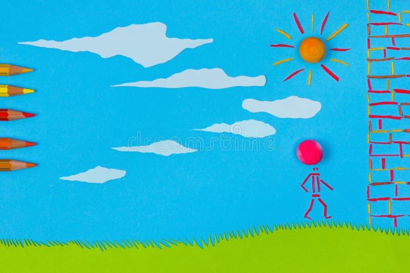 儿童游戏:击中墙壁 向量例证