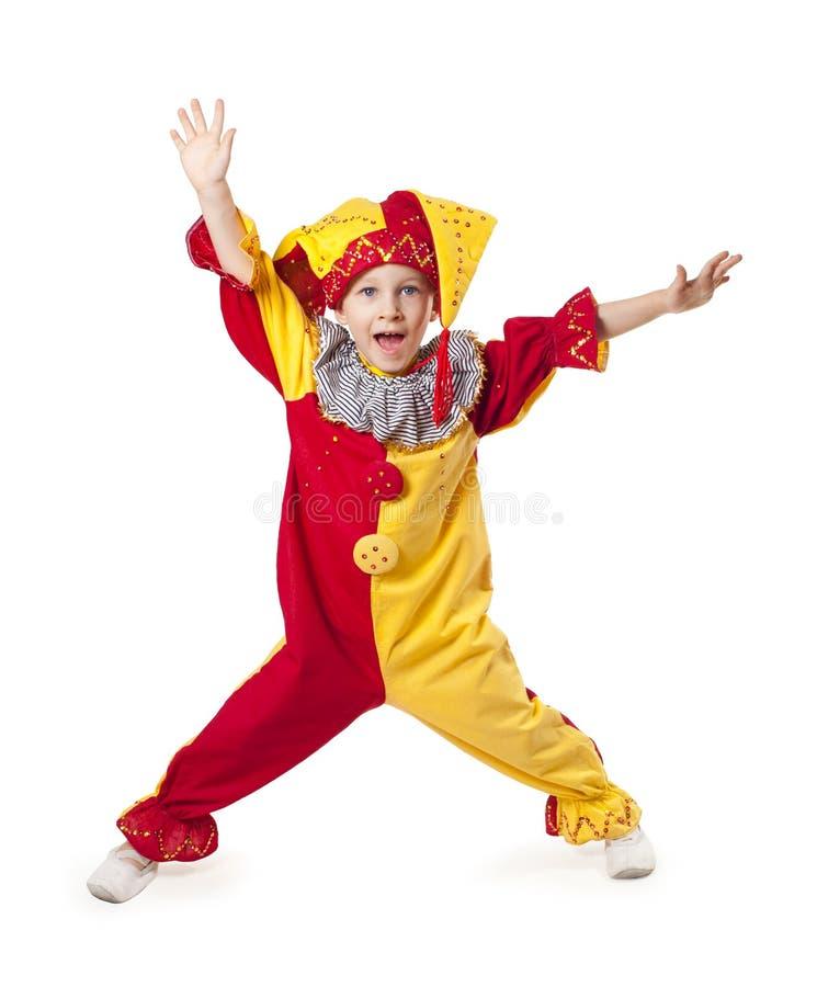 儿童滑稽小丑的服装 免版税图库摄影