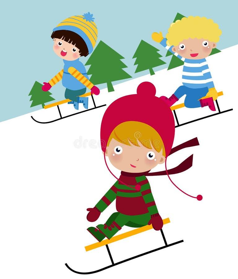 儿童滑雪 向量例证