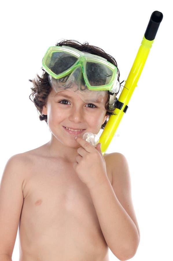 儿童潜水屏蔽 库存图片