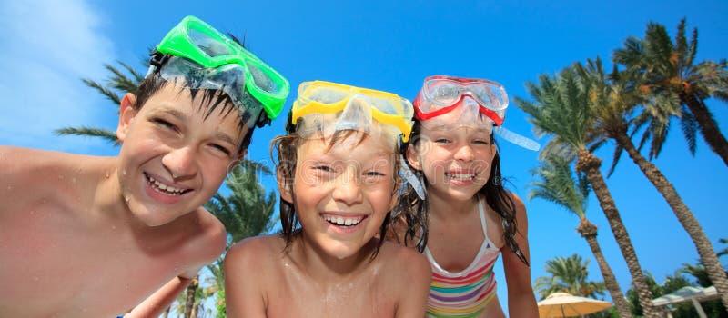 儿童潜水的屏蔽 库存照片