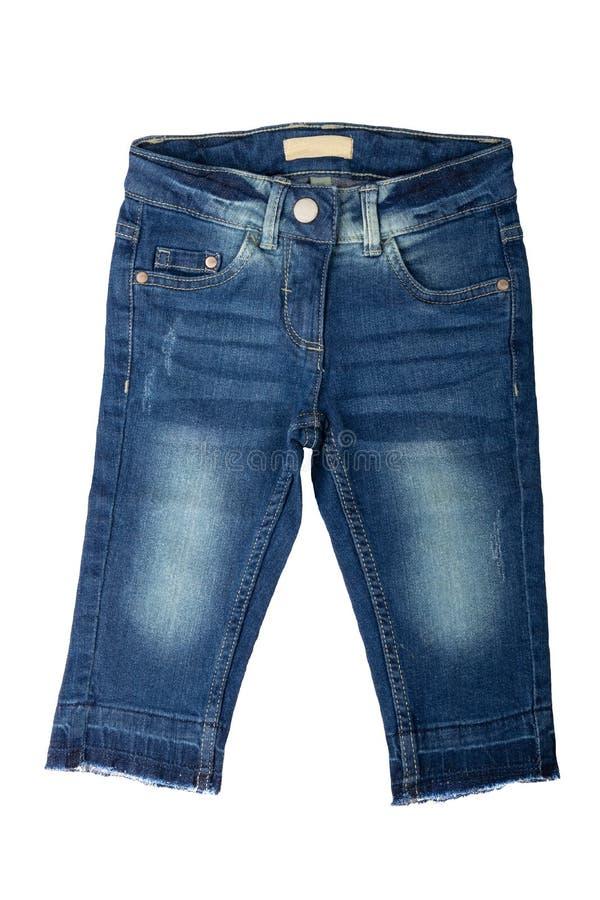 儿童牛仔裤 女孩在白色背景隔绝的牛仔裤裤子 J 库存图片