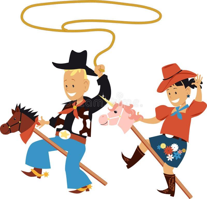 儿童牛仔题材党 向量例证