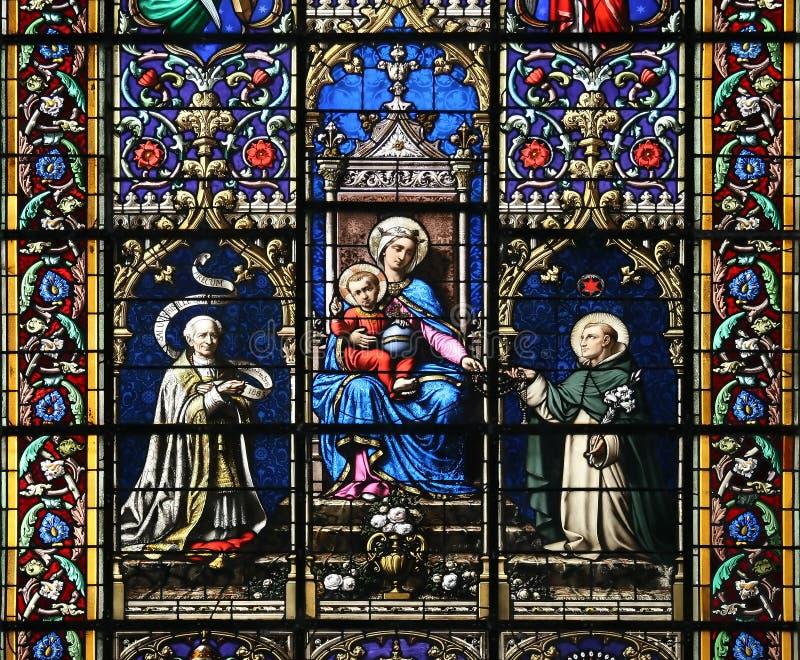儿童玻璃圣洁玛丽被弄脏的处女视窗 图库摄影