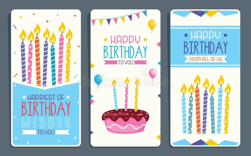 儿童生日宴会请帖卡片设计的传染媒介例证 库存例证
